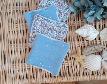 baby washable wipes double gauze light blue and flowers