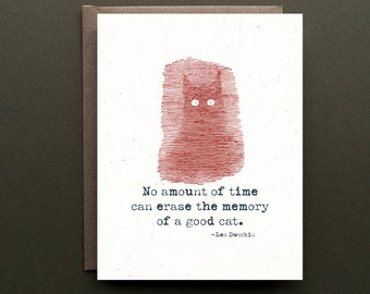 Cat Sympathy Card - No amount of time can erase the memory of a good cat - vintage illustration - blank note card - PURRfect for cat lovers