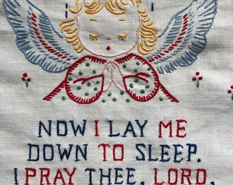"Vintage Embroidered Finished 'Now I Lay Me Down to Sleep, I Pray Thee, Lord..."" Picture."