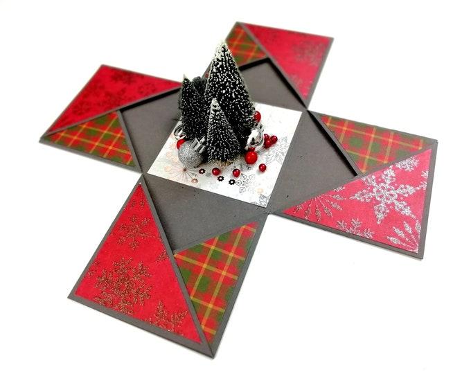 Gift box for Christmas | Christmas Explosion Box | Red & Grey Explosion Box with Pockets | Christmas Trees Explode Box