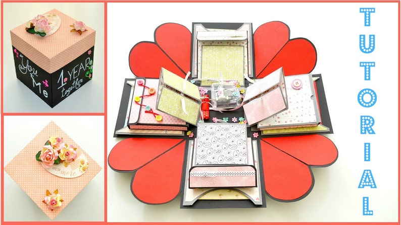 Tutorial  Red Heart  Explosion Box DIY  Explode box Step by image 0