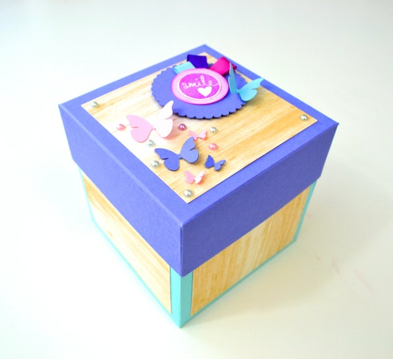 Explode Box Card Blue Pink Purple Explosion