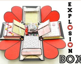 Exploding Box Card / Love Explosion Box ( Anniversary Gift Box / Birthday Gift Box / Valenines Gift Box ) Wedding Exploding Box Invitation