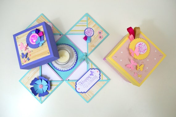 exploding box kit tutorial diy kit explosion box card etsy