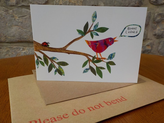 Good Luck Bird Card Bonne Chance Card Singing French Bird Card Bird Lovers Card Good Luck Card Moving Card Thinking Of You Luck Card