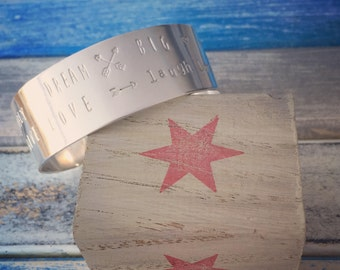 Words to Live By - handcrafted sterling silver cuff