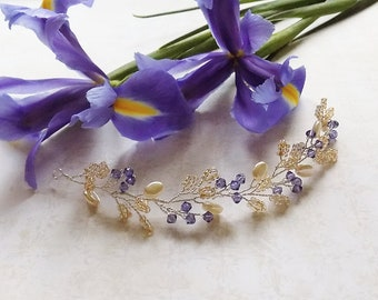Iris Swarovski and Pearlescent Hair Vine