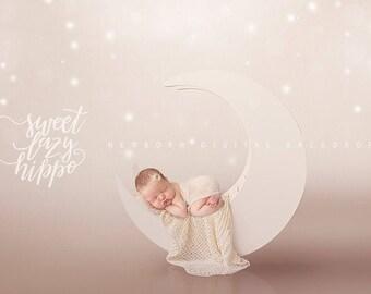 2 Newborn Digital  Backdrops.  Moon digital photo props.  Cream coconut color backdrop for babies. Instant download jpg