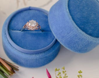 Velvet ring box - vintage style - french blue