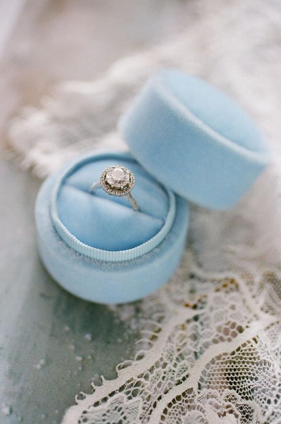 seafoam blue exterior Velvet ring box coral interior vintage style