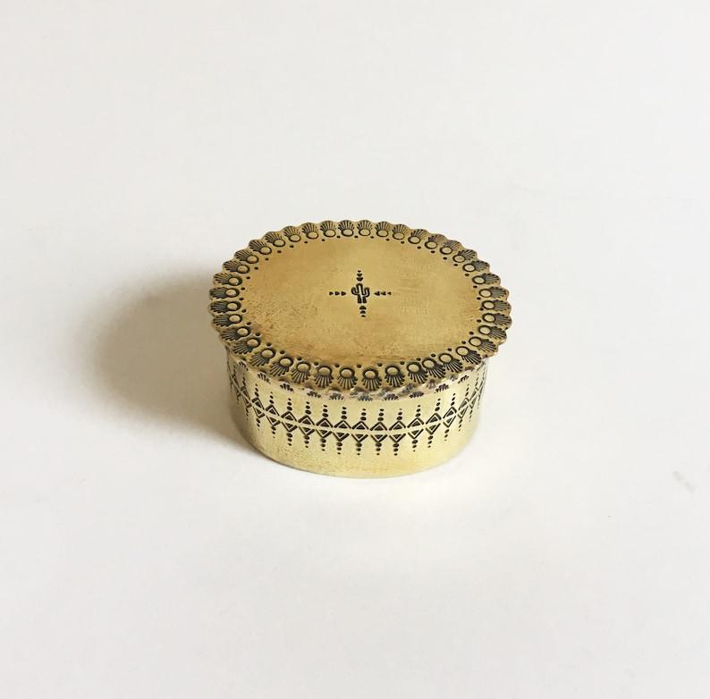 small oval box cactus handmade brass box Small Southwestern Brass Box ornate keepsake box patterned jewelry box