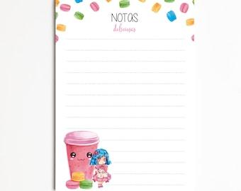 "Notepad A6 ""MACARONS"", Task List, Shopping List, Organizer, planner, Pretty Stationery"