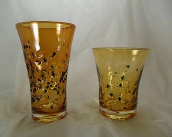 Set of art glass tumblers