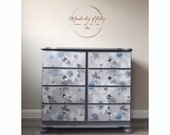 SOLD Floral Pine Chest Of Drawers, Pine Furniture, Pine Drawers, Floral Furniture, Grey, Blue White -Hand Painted, Refurbished, Upcycled