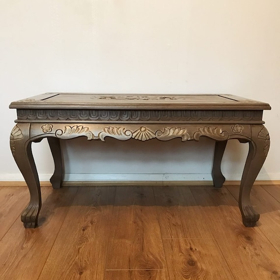 Pleasing Solid Oak Dark Wood Effect Carved Coffee Table Antique Rustic Style Refurbished Upcycled Hand Painted Annie Sloan Spiritservingveterans Wood Chair Design Ideas Spiritservingveteransorg
