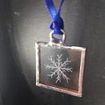 Engraved Glass// Snowflake// Christmas tree ornament // handmade in uk