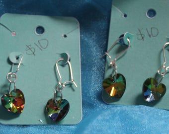 Rainbow holographic heart earrings
