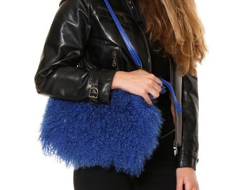 Fur purse red fur bag fur wrislet clutch Mongolian lamb  f524a5cb4d582