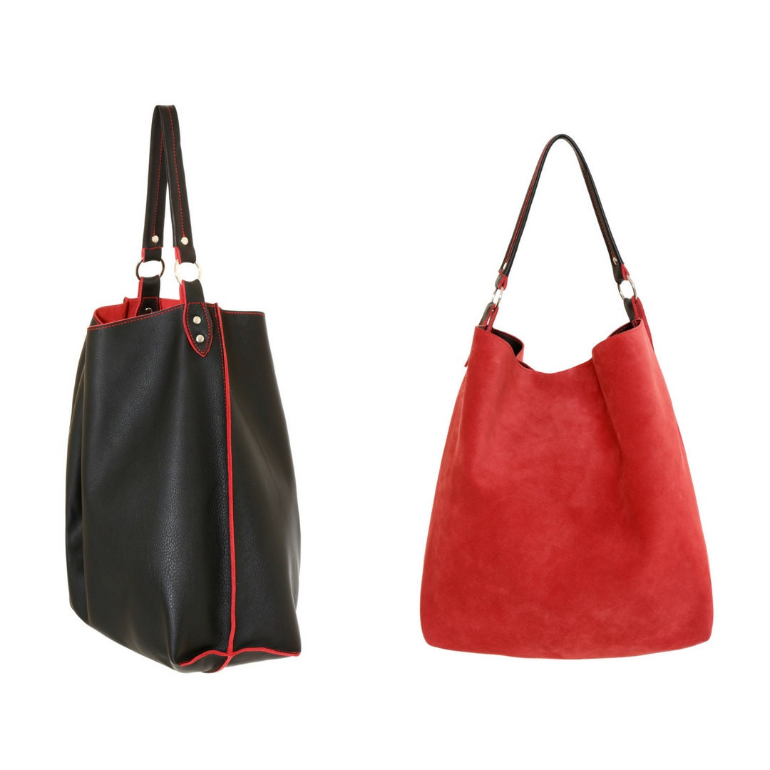 d789acfd797b Black leather tote black and red leather shoulder bag hobo