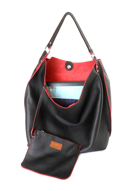 082c0a39f479 Black leather tote black and red leather shoulder bag hobo