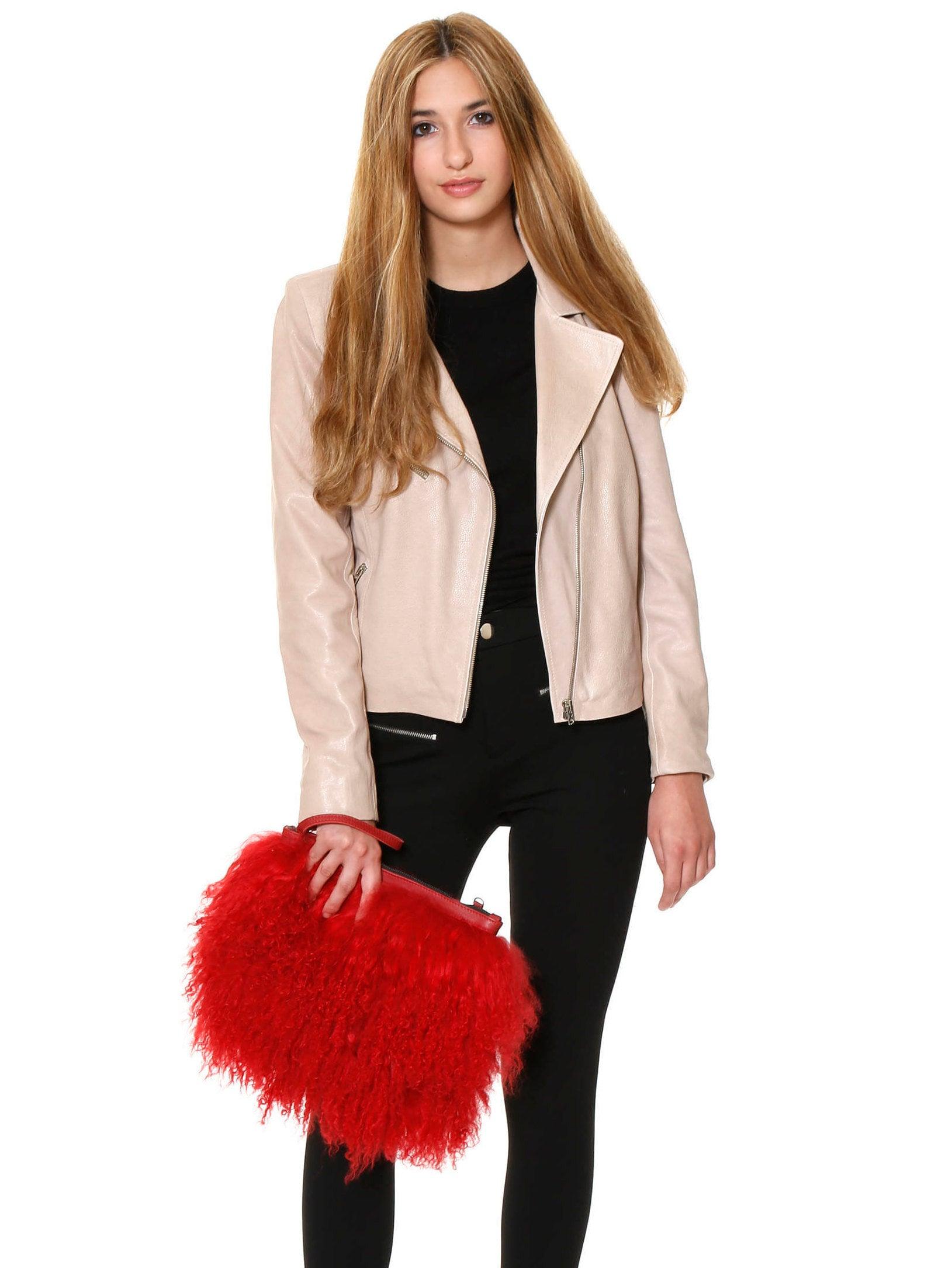 50a1a03497 Red evening purse fur clutch fur crossbody Tibetan lamb