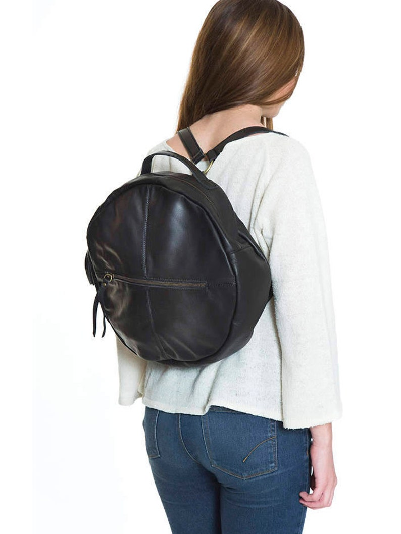 98f52e9c093 Black round leather backpack, womens black circle backpack, urban leather  rucksack, everyday roomy backpack