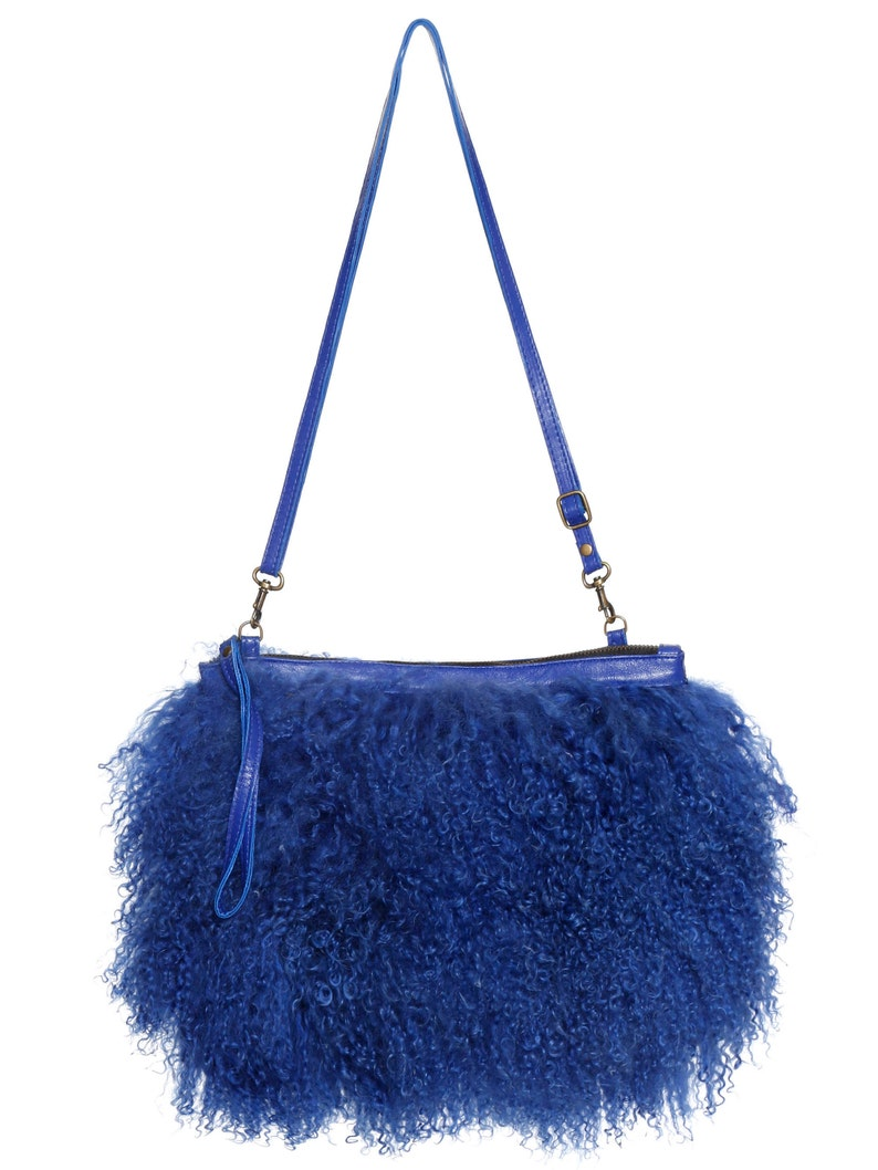Fur bag blue fur purse fur clutch lamb fur Mongolian lamb  6e389b3fcf299