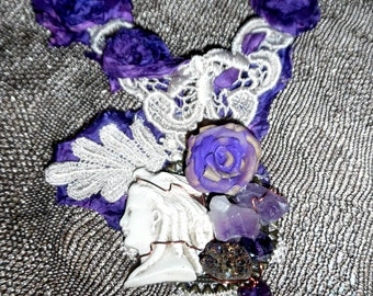 Vintage Assemblage Necklace with genuine Amethyst, Venice Lace and Silk