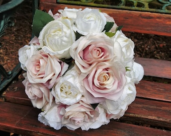 Ivory and Antique rose artificial bouquet