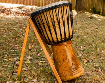 Ashiko or Djembe DRUM STAND with Standard or Custom Leather Strap