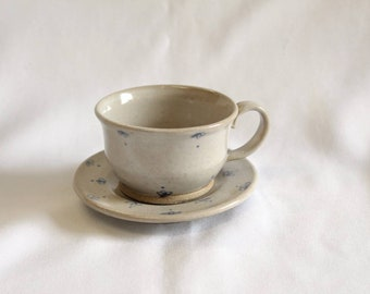 Children's Handmade Floral Ceramic Cup and Saucer Set