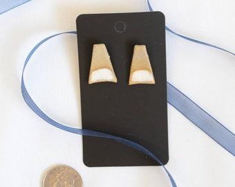 Fun Geometric Ceramic and Glaze Stud Earrings