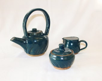 Ceramic Tea Pot Creamer Sugar Bowl Set in Teal Blue