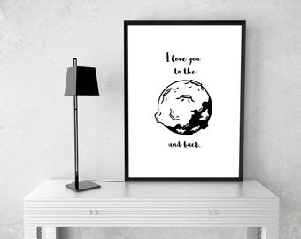 Bedroom Picture I love you to the moon and back Print
