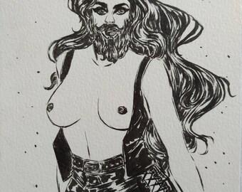 Inktober 16 - Bearded Lady