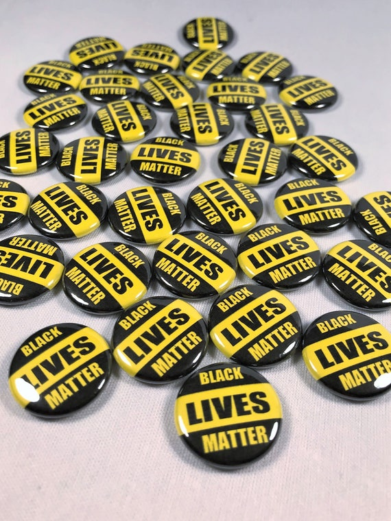 Black Lives Matter fist lapel pin badge Yellow no justice George Floyd