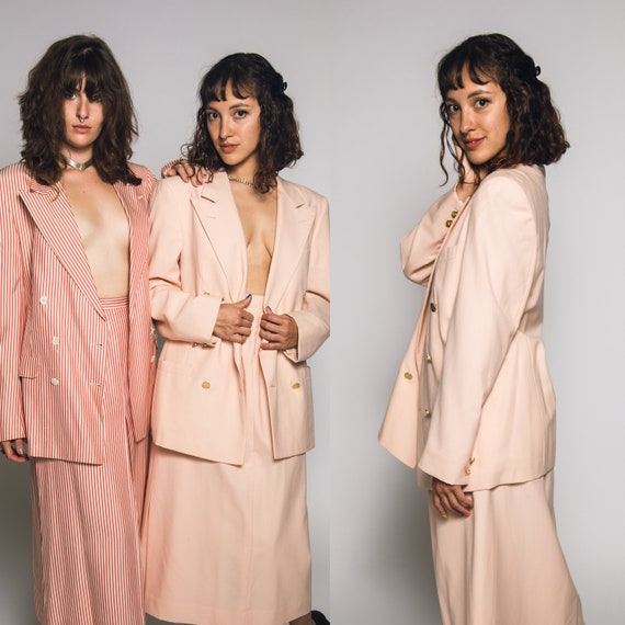 1980's Pink Burberry Suit Salmon Pink Cotton Cand… - image 1