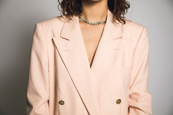 1980's Pink Burberry Suit Salmon Pink Cotton Cand… - image 4