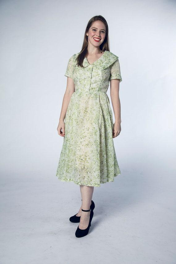 Beautiful 1950s Green Sheer Dress Foliage Flower … - image 4