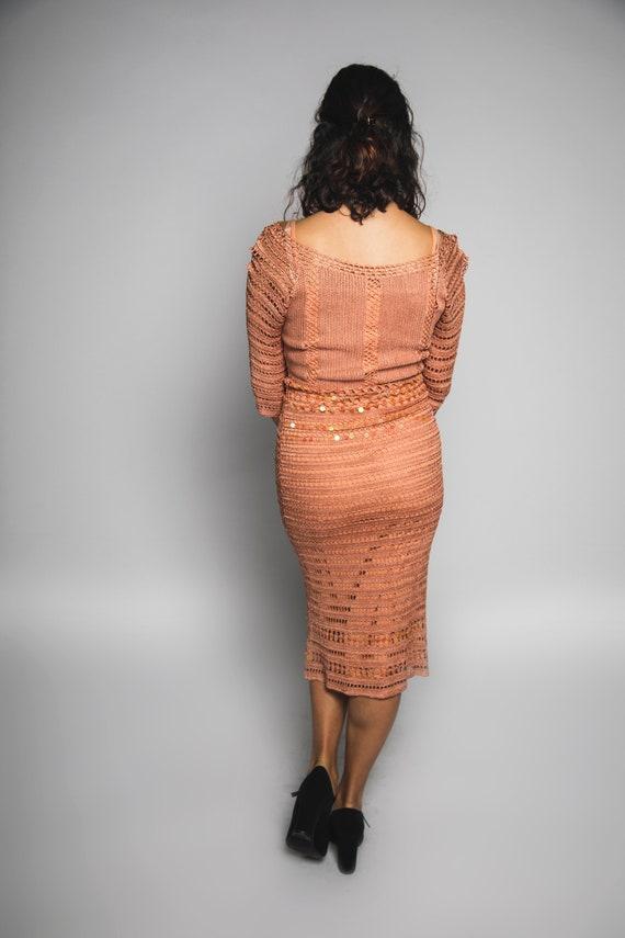 Beautiful 1990s Dusty Pink Crochet Dress with Seq… - image 3