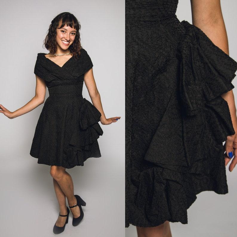 Elegant 1960's Saks Fifth Avenue Black Dress X Small