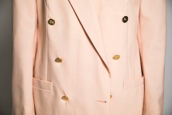 1980's Pink Burberry Suit Salmon Pink Cotton Cand… - image 5