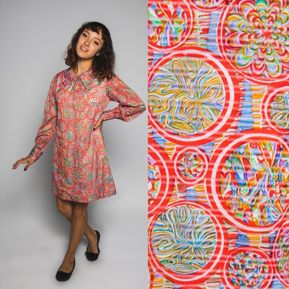60s Red Babydoll Psychedelic Marble Print Dress -