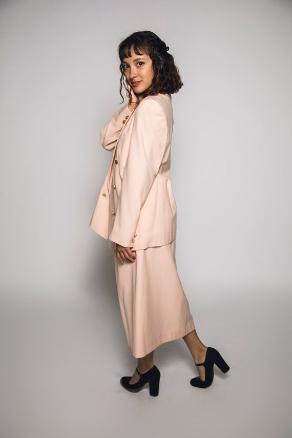 1980's Pink Burberry Suit Salmon Pink Cotton Cand… - image 2