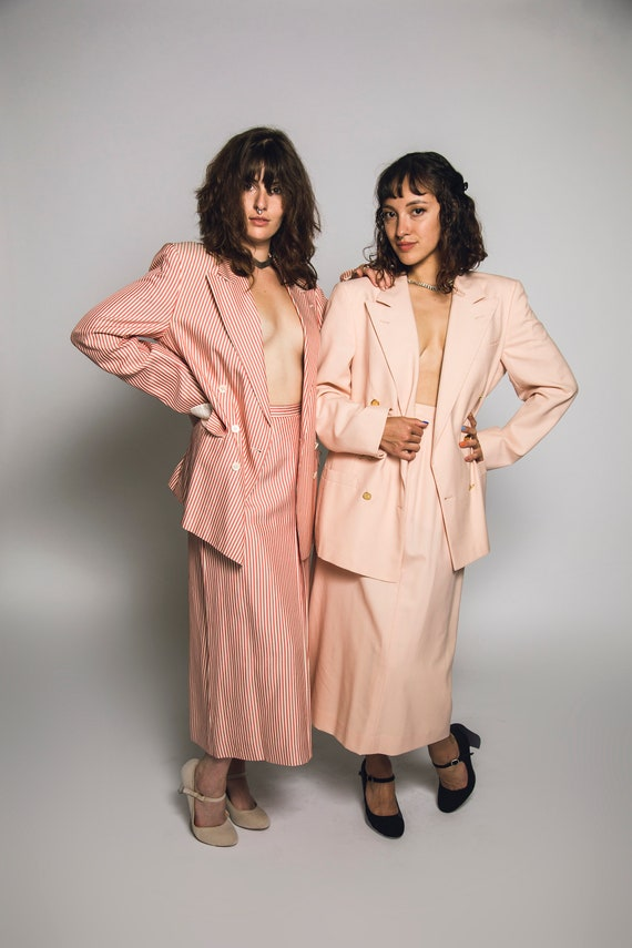 1980's Pink Burberry Suit Salmon Pink Cotton Cand… - image 7