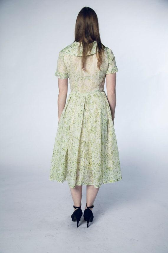 Beautiful 1950s Green Sheer Dress Foliage Flower … - image 6