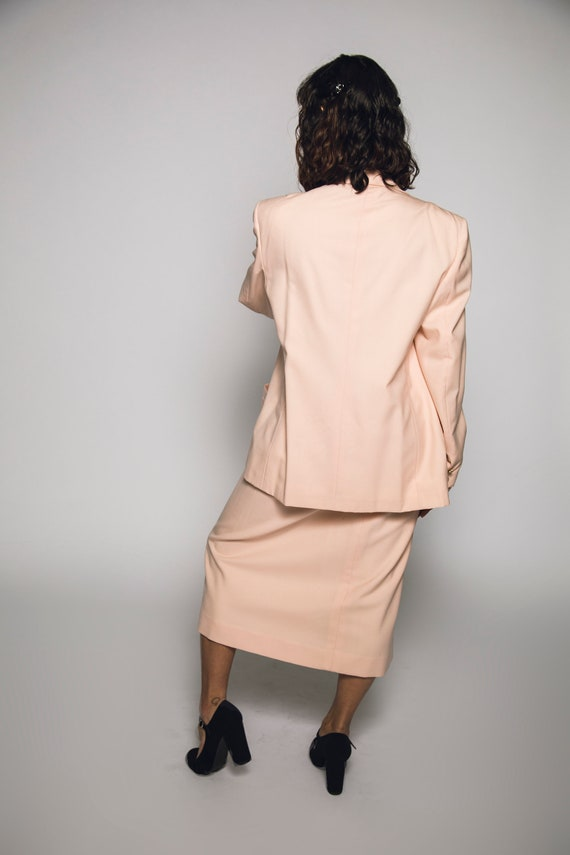 1980's Pink Burberry Suit Salmon Pink Cotton Cand… - image 3