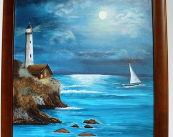 Lighthouse in the Moonlight Painting