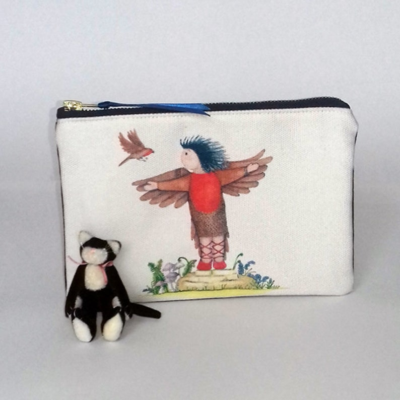 Pencil Case Zippered Canvas Coin Purse Floral Print Butterfly Rabbit Easter Wallet Bag Gift With Zip And Liner