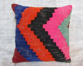 "Turkish Kilim pillow,16""x16""inches,40x40cm,Anatolian Turkish Handmade Tribal Vintage Kilim Pillow Cover"